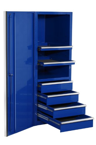Extreme Tools EX2404SCBL 4-Drawer 2-Shelf Side Cabinet with Ball Bearing Slides, 24-Inch, Blue High Gloss Powder Coat Finish