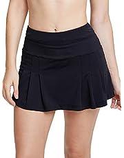 Jessie Kidden Women's Athletic Stretch Skort Skirt with Shorts and Pocket for Running Tennis Golf Workout