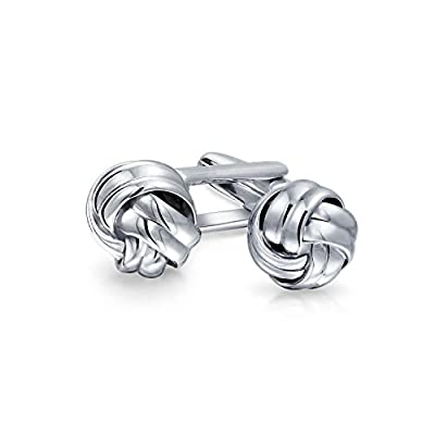Mens Executive Round Ball Woven Braid Twist Cable Rope Knot Cufflinks For Men 925 Sterling Silver Hinge Back