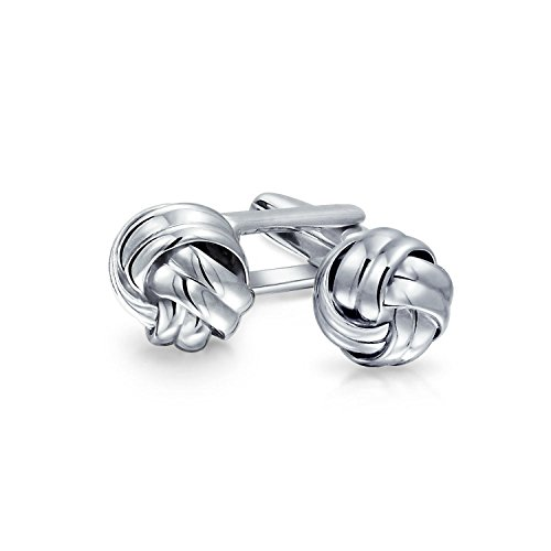 (Mens Executive Round Ball Woven Braid Twist Cable Rope Knot Cufflinks For Men 925 Sterling Silver Hinge Back)