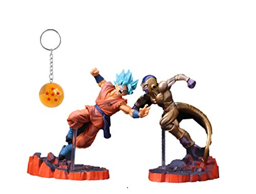 Bezuto Dragon Ball Z Super Goku Frieza Action Figures Toys Bundle with Free DBZ Keychain (Dragon Ball Z Toys Frieza)