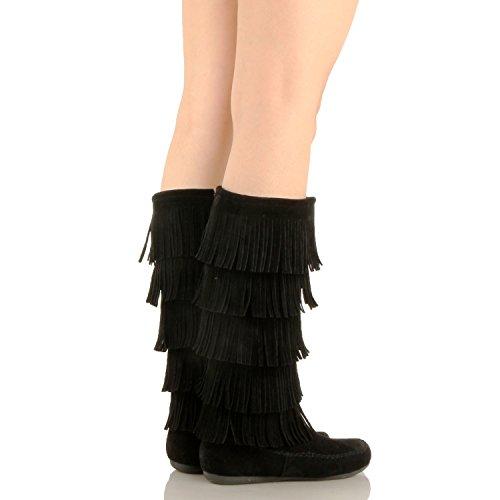 West Blvd Lima - Womens Western Fringe 3-Tier-Mokassin-Flach - Faux Suede Mid Calf Boots Blackv1 Wildleder