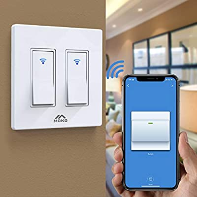 MoKo Smart Life Switch, Smart WiFi Light Switch with Remote Control and Timer Function, Compatible with Alexa, Google Home and IFTTT, Neutral Wire Required, Reliable WiFi Connection - White