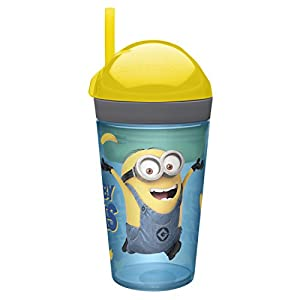 Zak! Designs Zak! Snak Snack & Drink Container Featuring The Minions, 4 oz. Snack and 10 oz. Drink in One Easy To Open Container, BPA-free and Break-resistant Plastic