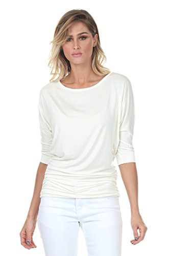 iliad USA 7001 Womens Round Neck Dolman Top 3/4 Sleeve Side Shirring Off-White 2X-Large (Off Top White Round)