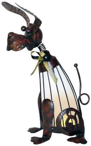 Woods International 7238 Dog Lighted Metal Statue, 12-Inch by 6-3/4-Inch by 6-3/4-Inch