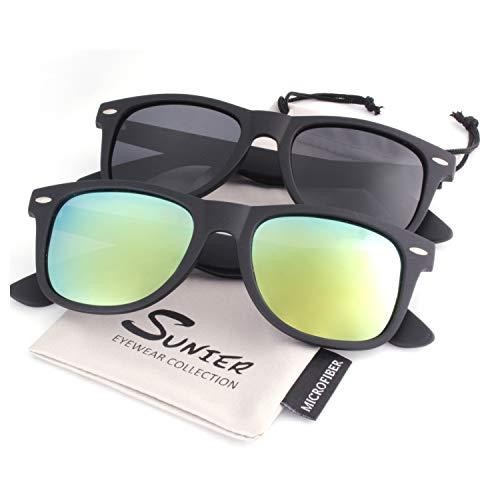 SUNIER Polarized 80's Retro Classic Square Frame Sunglasses Brand Designer 2 ()