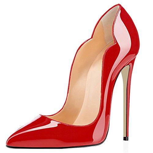 Rosso ELASHE Scarpa 2 Scarpe Scarpe Davanti tacco 12CM Pattern col Chiuse Ritaglio da Animale Heels Donna High wwpzqar