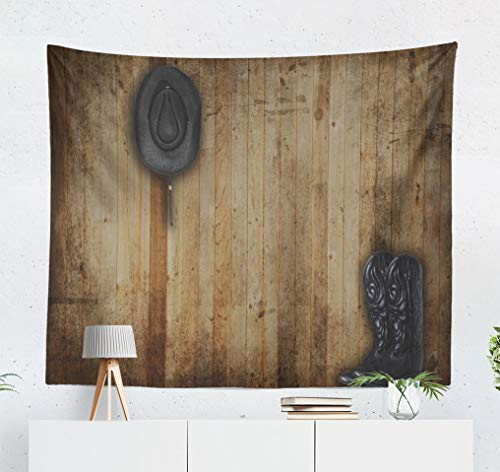 - threetothree 50x60 Inches Tapestry Wall Hanging Interior Decorative Black Cowboy and Hat Weathered Panel Western Country Ranch Old Wood American Backdrop for Bedroom Living Room Tablecloth Dorm