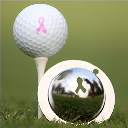 Tin Cup Breast Cancer Awareness Golf Ball Marking Stencil, Steel
