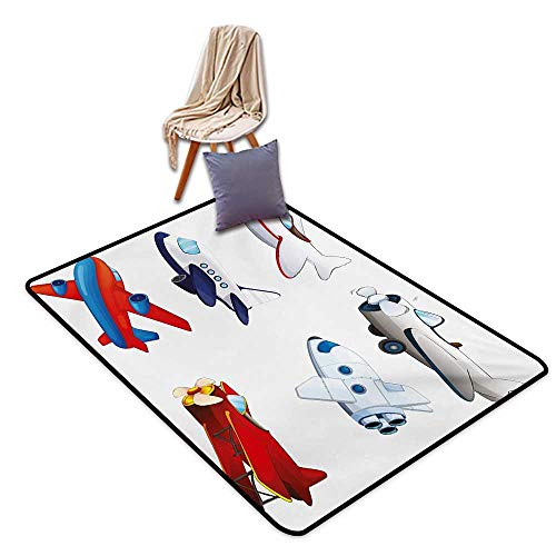 Boys Room Large Outdoor Indoor Rubber Doormat Varied Airplanes in Cartoon Style Animation Inspired Colorful Vehicles Air Way Water Absorption, Anti-Skid and Oil Proof 32