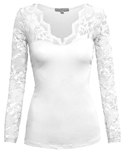 Women's Fitted Cotton Casual Scalloped Floral Lace V Neck Long Sleeve Shirt Top,Snow - Hot Hollywood Fashion