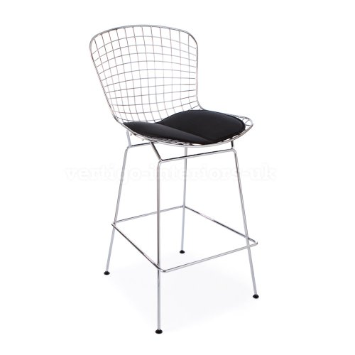*Set Of 2* High Quality Bertoia Style Wire Bar Stool   Black Seat Pad From Vertigo  Interiors