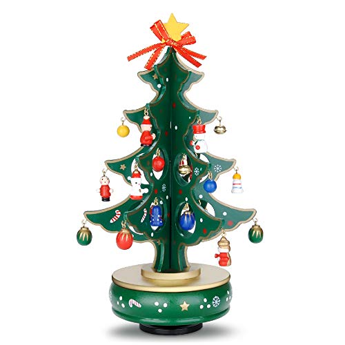 GEEDIAR Music Box with Rotating Christmas Tree Figurine Snowman Jingle Bells Miniature Wooden Ornaments for Children