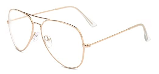 Amazon.com: Outray Classic Aviator Metal Frame Clear Lens Glasses ...