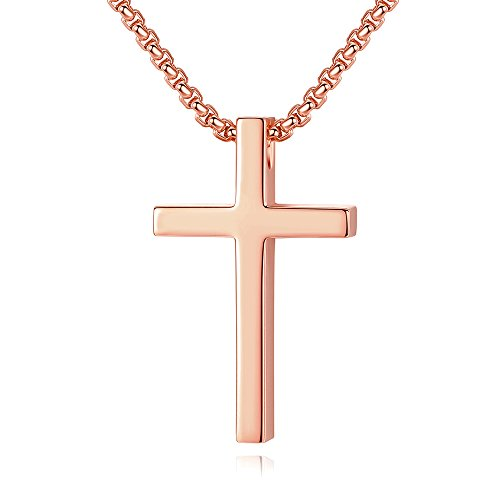 Reve Simple Rose Gold Plated Stailess Steel Cross Pendant Necklace for Women Men, 20-22'' Chain (1.20.7'' Pendant + 20'' Rolo Chain) ()