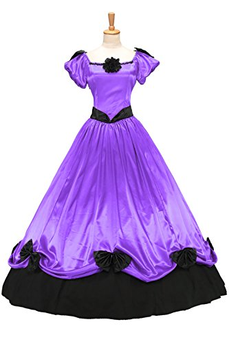 XOMO Victorian Southern Belle Ball Gown Period Princess Puff Sleeve Formal Dress Light Purple XL -