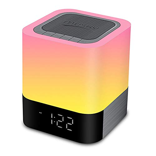 StillCool Night Lights Wireless Speaker,Touch Sensor Bedside Lamp,Color Changing Dimmable Table Lamp,MP3 Music Player,Wireless Speaker with Lights for Kids and Adult,Party,Bedroom,Reading,Camping ()