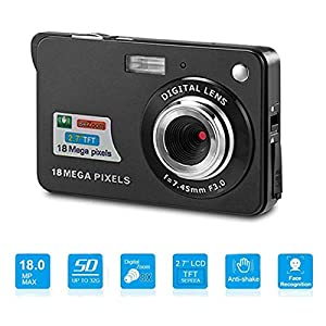 Digital Camera,Youmeet 18MP Compact Camera,2.7 inch Pocket Camera,Rechargeable Small Digital Camera for Kids,Students…