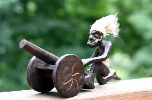 Handmade-Wooden-Primitive-Tribal-Tiki-Bar-Statue-with-Canon-Handcrafted-Gift-Home-Decor
