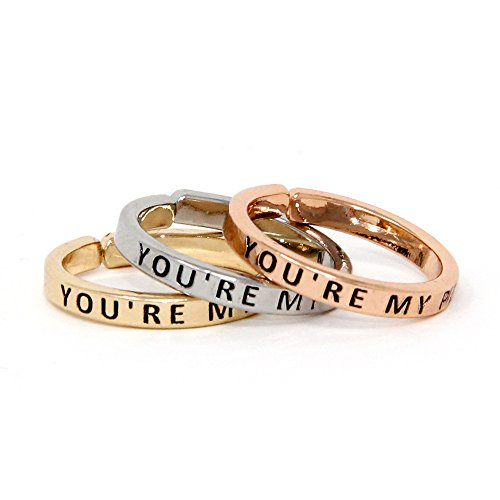 Me Plus Inspirational Positive Message Engraved Thin Finger Opening Rings 3 In 1 Set -28 Different Phrases (YOU'RE MY PERSON)