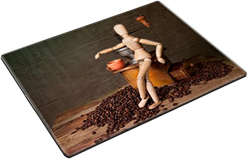 MSD Place Mat Non-Slip Natural Rubber Desk Pads Design: 8415002 Still Life with Coffee Grinder and Jointed Doll Working The Mill ()