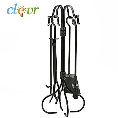 Clevr 5pcs Fireplace Tool Set and Firewood Carrier