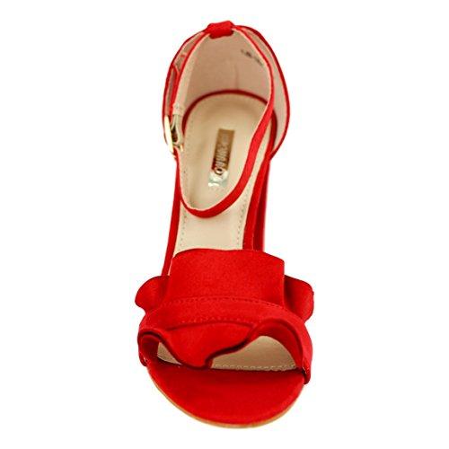 Buonarotti Sandalia de Tacón con Pulsera EN el Tobillo y Adorno de Volantes EN La Pala. Altura 9 cm. Rojo