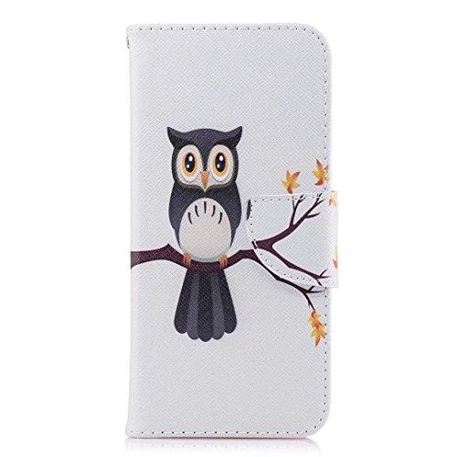 Samsung Galaxy A8Plus (2018) móvil, cowx PU Funda de piel para Samsung Galaxy A8Plus (2018) funda Hawk el Árbol
