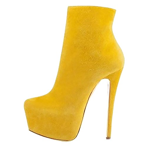 EKS Platform Side Shoes Hidden Heel J Ankle Suede Boot Zipper High Women's 109 Yellow Dress ran4rx