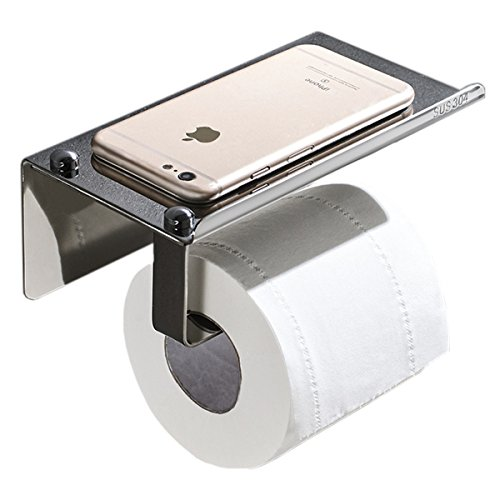 Labkiss Self Adhesive Toilet Paper Holder Phone Shelf, No Drill, No Rust, Heavy Duty, Anti-Corrosion, Stainless Steel, Mirror Polish, Home Bathroom Hotel Towel RV Wall Mount Tissue Rolls Holder