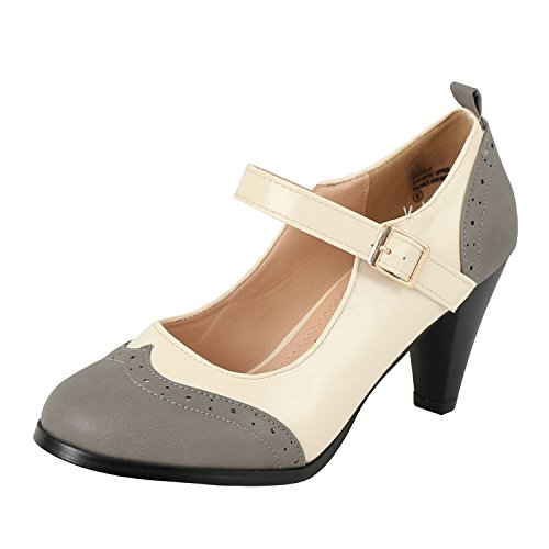 Chase & Chloe Womens Round Toe Two Tone Mary Jane Pumps Pumps-Shoes, Greywhite, 5.5