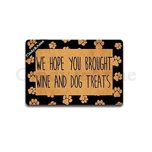 (Cindy&Anne We Hope You Brought Wine and Dog Treats Doormat Paws Print Welcome Entrance Floor Mat Funny Doormat Door Mat Decorative Indoor Outdoor Doormat 23.6