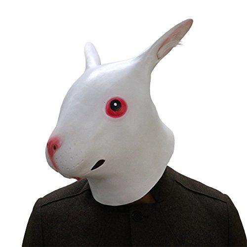 MostaShow Full Head Latex Masks Halloween Masquerade Cosplay Animal Masks Costume Accessory (Smooth (Rabbit Head Mask)