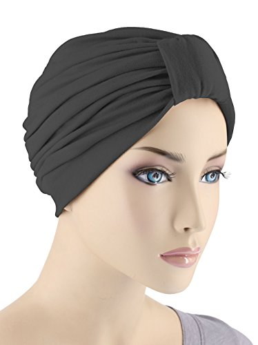 Classic Cotton Turban Pleated Chemo Cap for Women with Cancer in Black