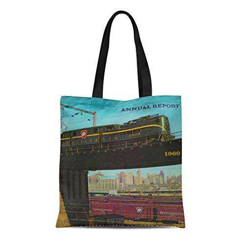 - Semtomn Cotton Line Canvas Tote Bag Vintage Pennsylvania Railroad Annual Report Prr Gg1 Baldwin Locomotive Reusable Handbag Shoulder Grocery Shopping Bags