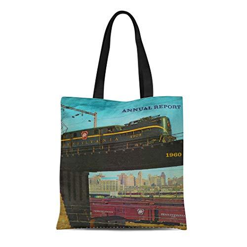 Semtomn Cotton Line Canvas Tote Bag Vintage Pennsylvania Railroad Annual Report Prr Gg1 Baldwin Locomotive Reusable Handbag Shoulder Grocery Shopping Bags