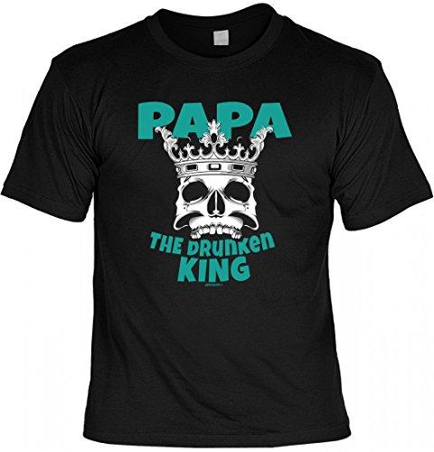 T-Shirt Vater - Papa - The drunken king - Geschenk Idee mit Humor zum Vatertag oder Geburtstag - schwarz