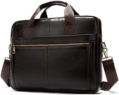 Leather MenS Handbag Business Briefcase Bag Large Capacity Shoulder Tote Bags Coffee
