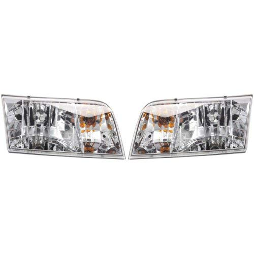 Headlight Assembly Compatible with 1998-2011 Ford Crown Victoria Halogen Passenger and Driver Side