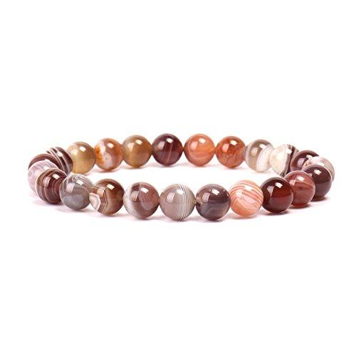 (Natural Stone Bracelet Gem Semi Gemstone Bracelets Natural Stones Healing Power Crystal Elastic Round 8mm Ball Beads Stretch Beaded Bracelet 7