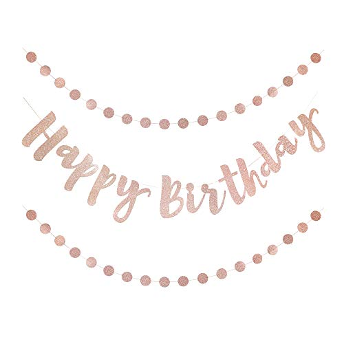 Lily & Peony Happy Birthday Banner Set in Rose Gold Glitter
