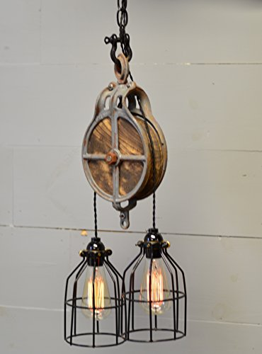 Wood and Steel Ceiling Light