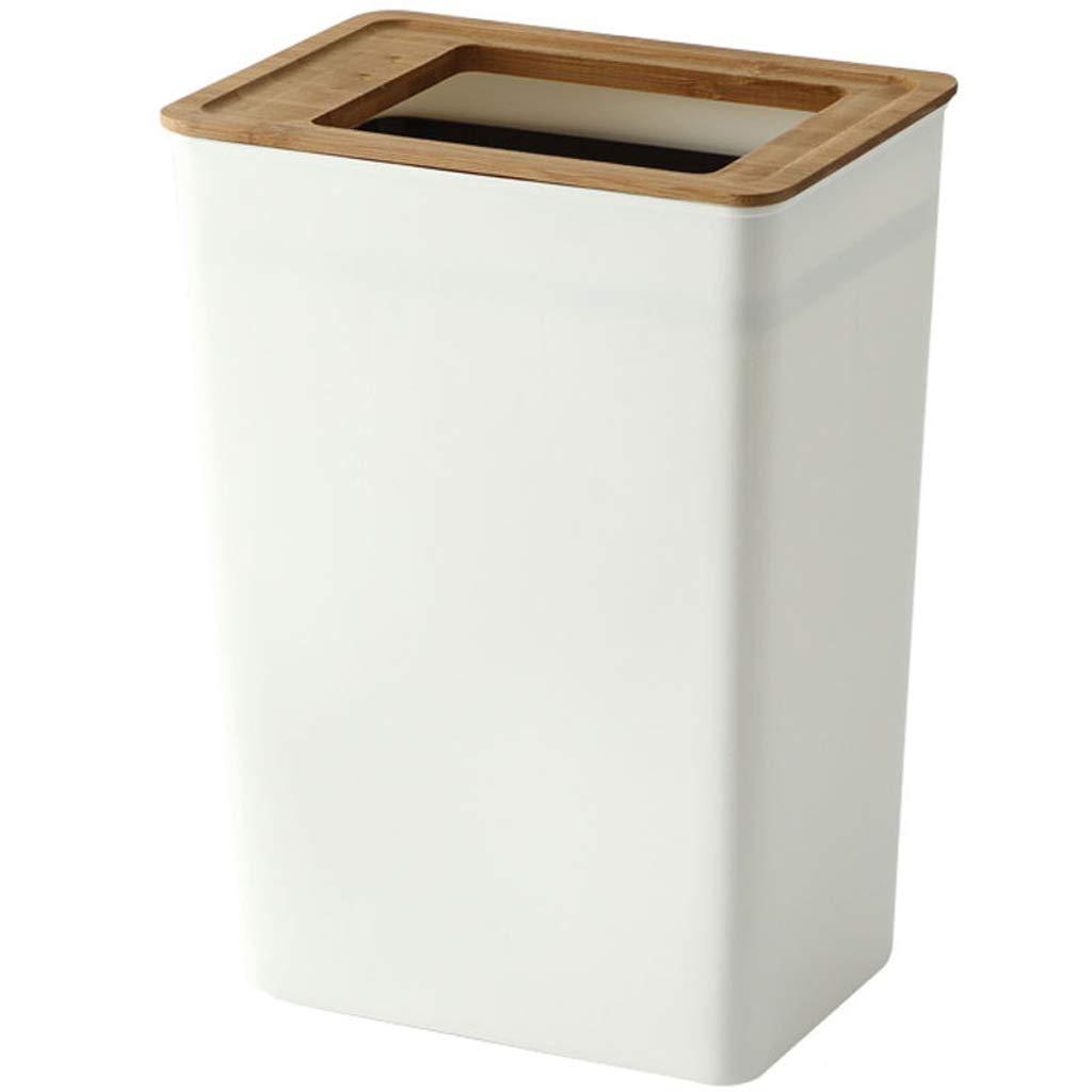 16 GOPG Mit Deckel Holz M/ülleimer Rechteckig Schmal Druckring Papierkorb Kunststoff Abfallbeh/älter M/üll Recycling Geeignet f/ür Familie 23 25.5-Wei/ß