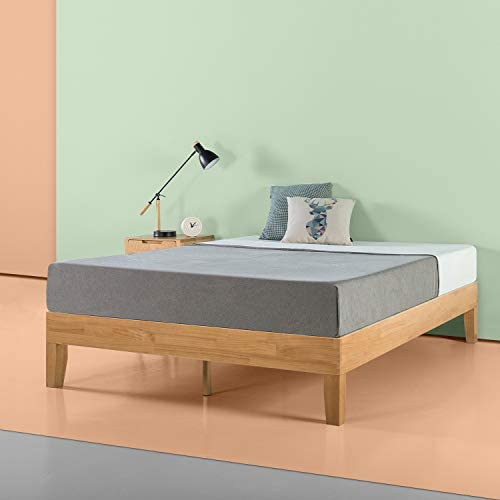 Zinus Moiz 14 Inch Deluxe Solid Wood Platform Bed / No Box Spring Needed / Wood Slat Support / Natural Finish