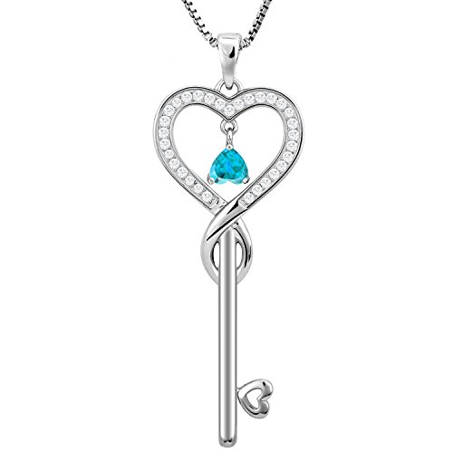 Birthday Gifts, December Birthstone Good Lucky Heart Key Necklace, Infinity Endless Love Jewelry for Women, Mother & Daughter Necklace, Gifts for mom, sister, grandma, wife, friendship (Blue Topaz) (Love Necklace Key)