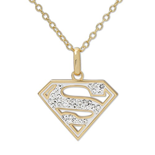DC+Comics Products : DC Comics 18k Gold Over Sterling Silver Superman Crystal Pendant Necklace, 18''