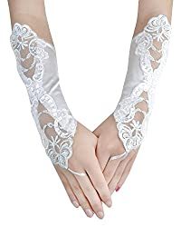 Off White Embroidered With Sequin Bridal Gloves