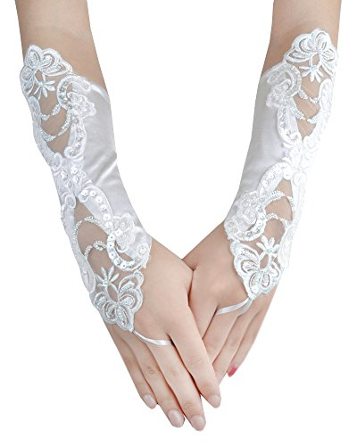 JISEN Lady Banquet Party Fingerless Sexy Elegant Lace Embroidered Bridal Gloves 11″ Beige