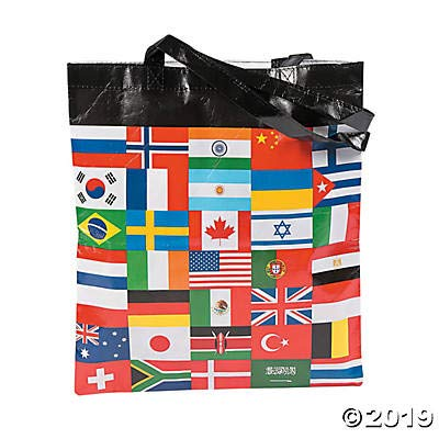 (Fun Express - Flags of All Nations Laminated Tote Bags - Apparel Accessories - Totes - Novelty Totes - 12)
